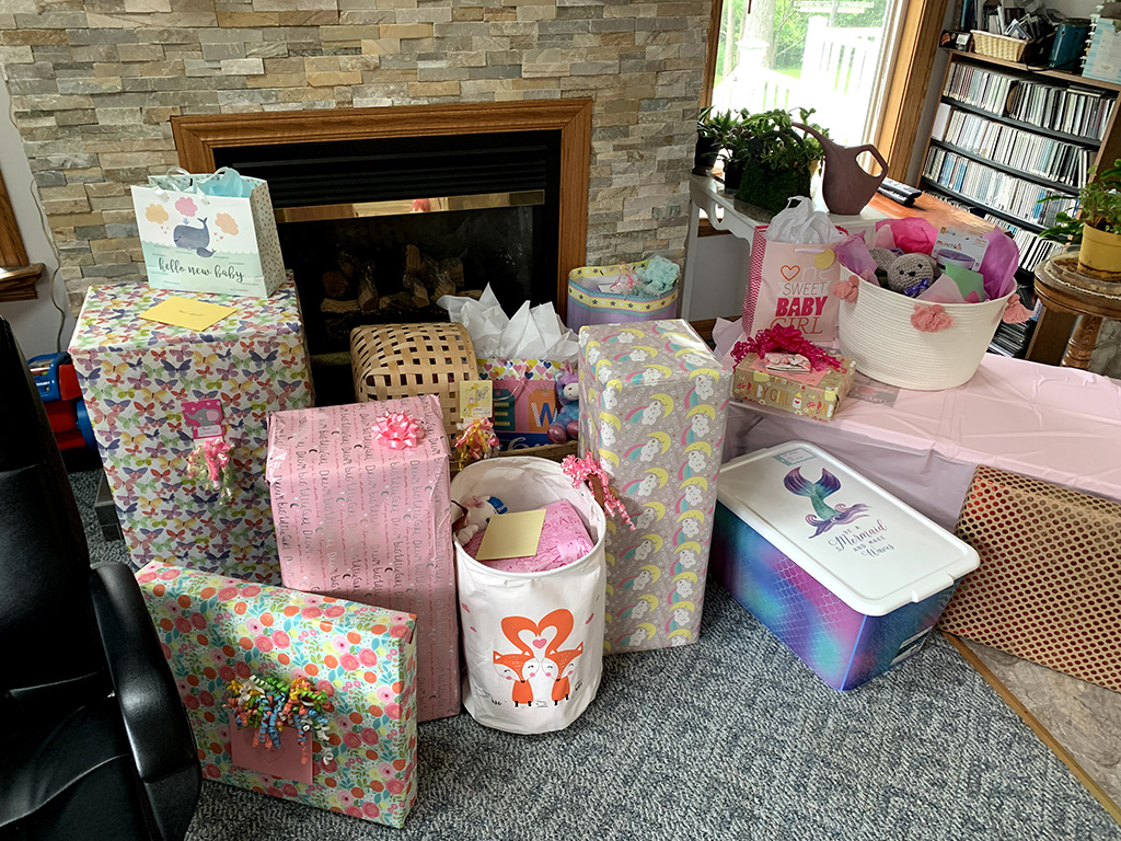 Gifts at Helena's baby shower